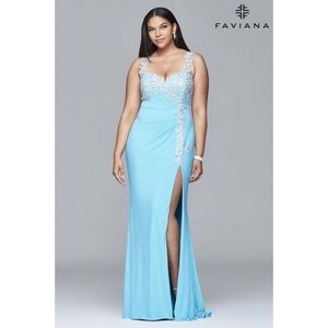 Plus size beaded embroidered jersey gown